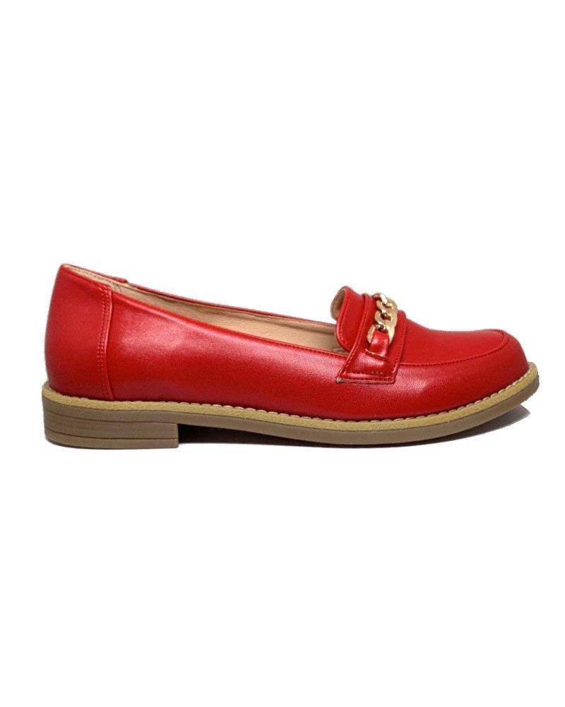 Loafers κόκκινο με αλυσίδα 40/01010 38