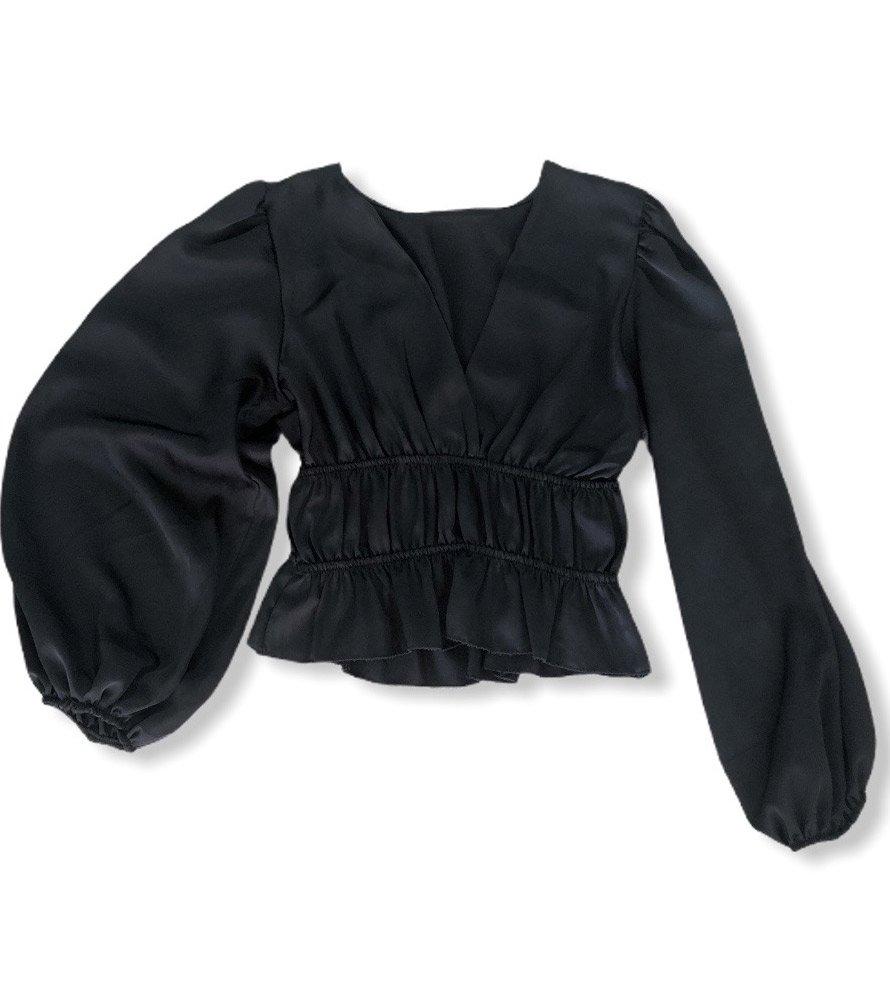 Σατέν μπλούζα μαύρο 1034/348
