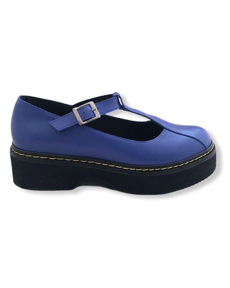 Δερμάτινη μπαλαρίνα τύπου Dr. Martens μπλε 40/00602